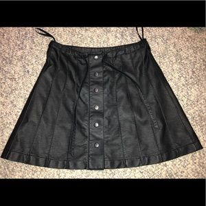 Free People Snap Front Faux Leather Mini Skirt